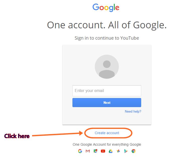 Register YouTube accoun