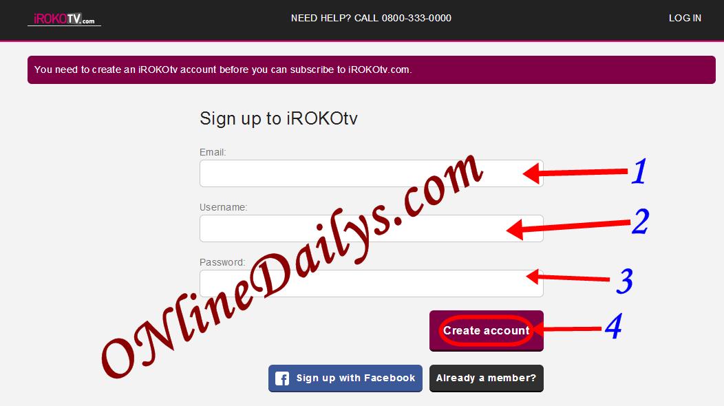How to create Irokotv account