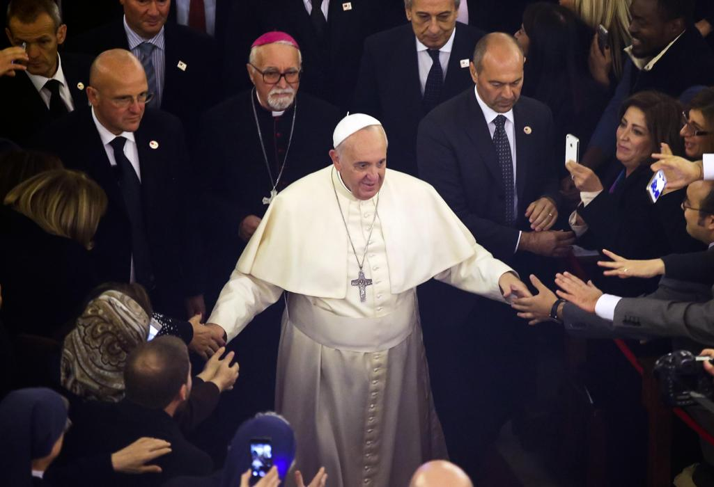 Pope Francis arrives to celebrate a Mass inside the Holy spirit Cathedral in Istanbul, Turkey