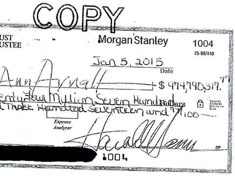 Ms Arnall's cheque