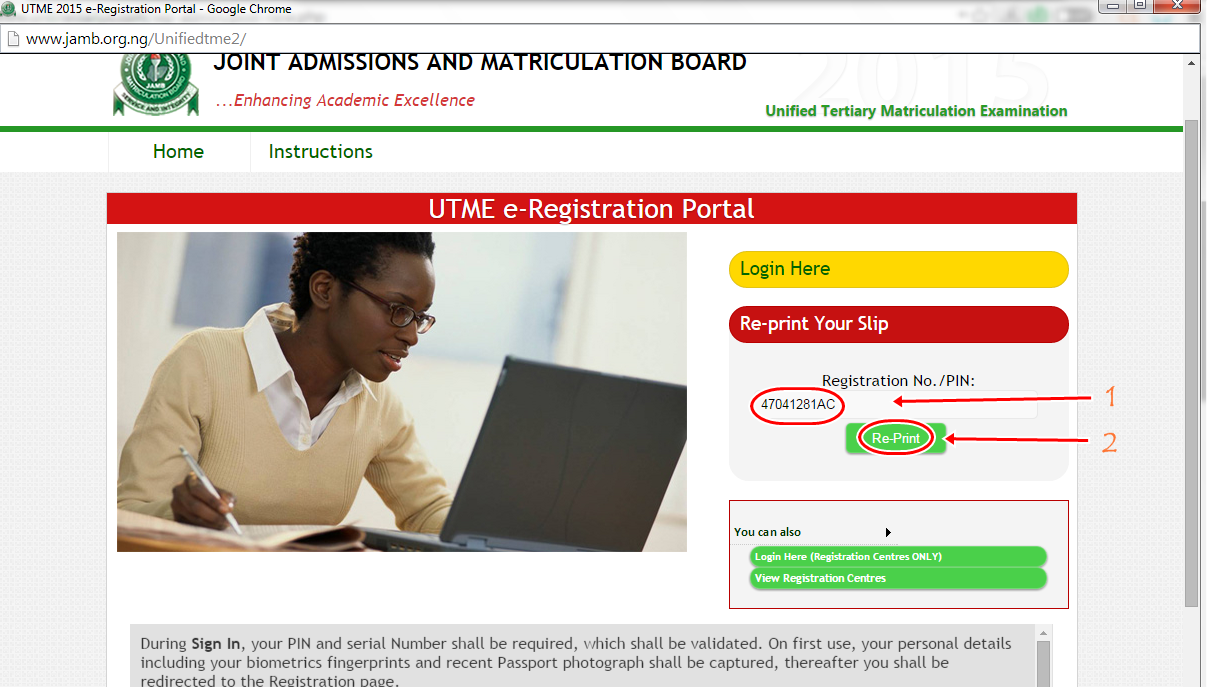 3-steps to Re-print 2015 JAMB UTME Slip Online