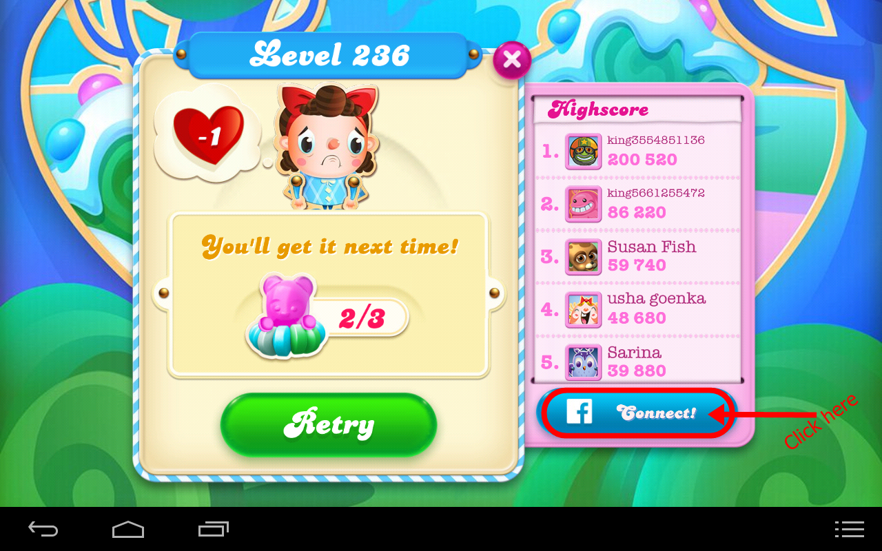 How to connect Candy Crusch Game with Facebook Account