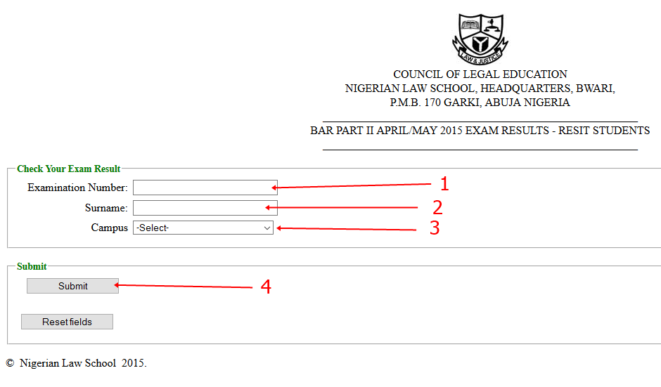 2015 Nigerian Law School Bar II final Result Checking for RESIT STUDENTS