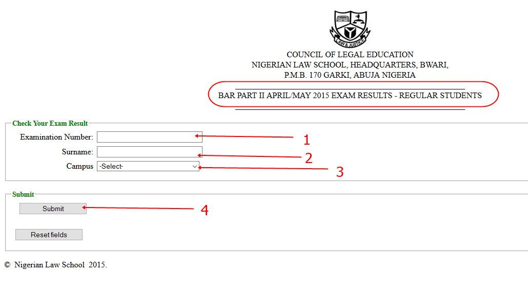 To check the Nigerian Law School Bar II final Result for REGULAR STUDENTS