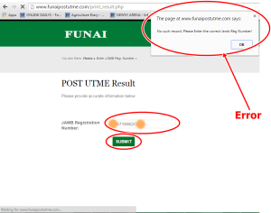 FUNAI 2015/2016 Post UTME Results Checking Error & Solutions