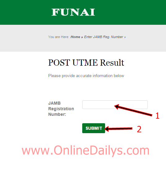 FUNAI POST-UTME Result checker portal | www.FUNAI.edu.ng