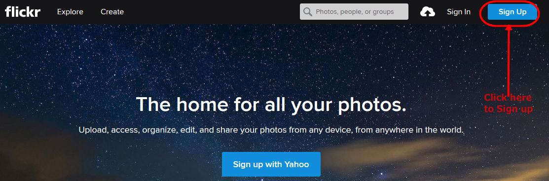 Flickr Account Registration portal