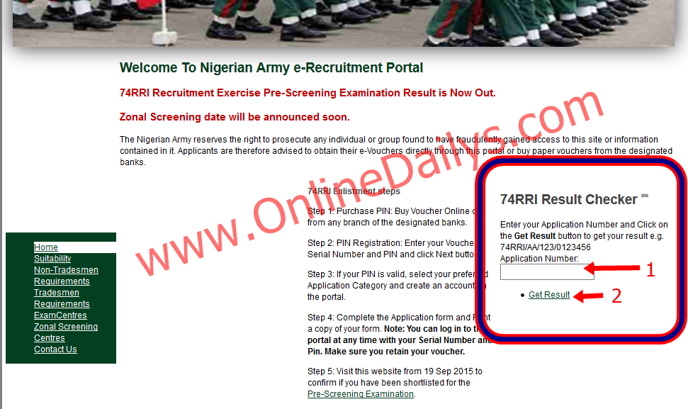 Check 74RRI Recruitment Exercise Pre-Screening Result here