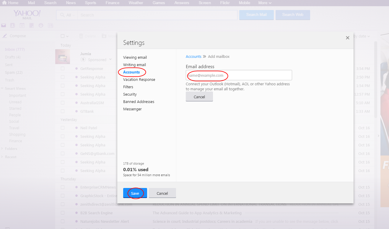 how  to manage other mail account in Yahoo Mail 2