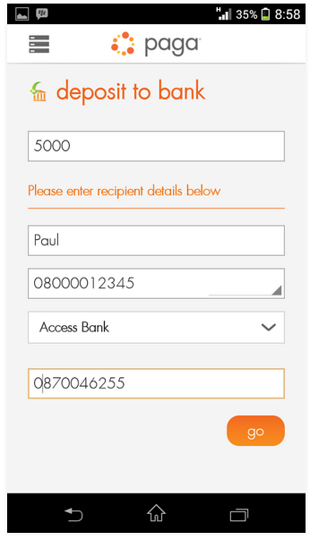 How to Deposit Cash Using Paga App 2