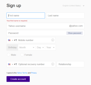 Yahoo email sign up page