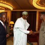 PHOTOS as Pastor Adeboye visits President Buhari, Osinbajo