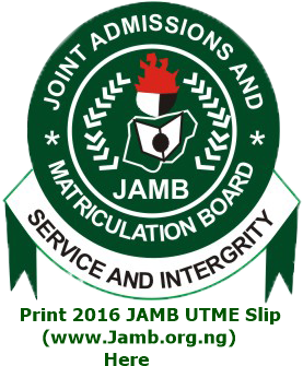 Print 2016 JAMB UTME Slip