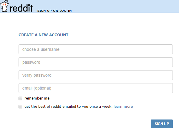 Sign Up Reddit Account Registration