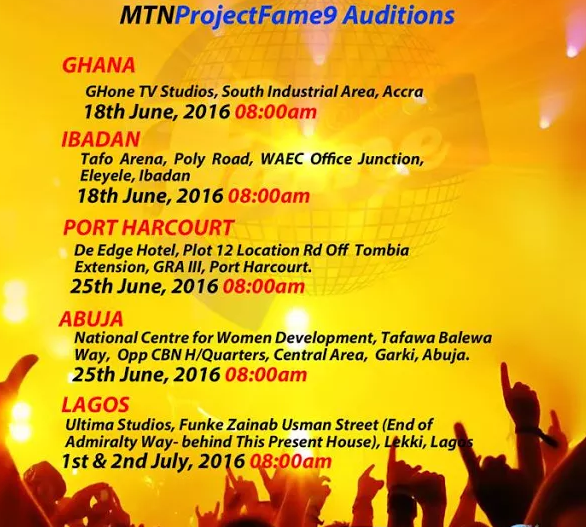 2016 Session 9 MTN Project Fame Audition Dates and Venues