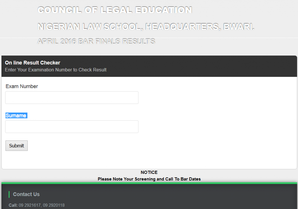 NLS result checking portal