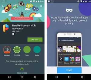 Parallel Space app for Smartphones