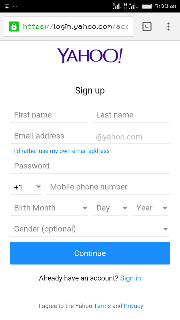 Yahoo Mail Create Account form