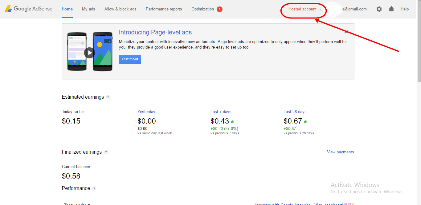 Google AdSense Hosted Account