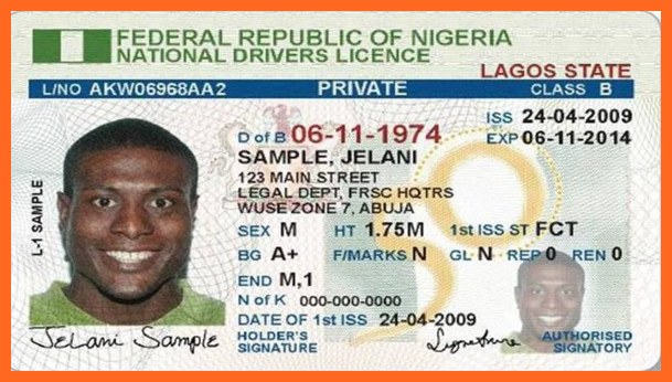 Nigeria Drivers License Identity Card