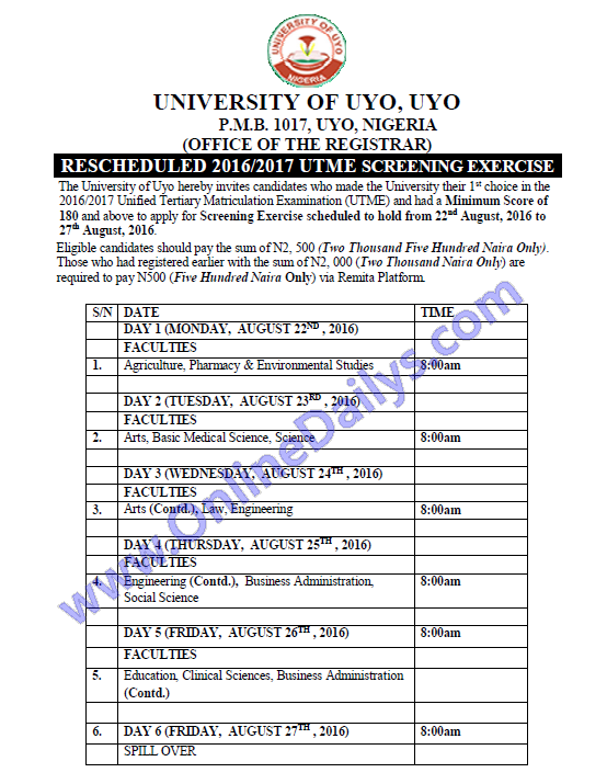 download University of Uyo screening timetable
