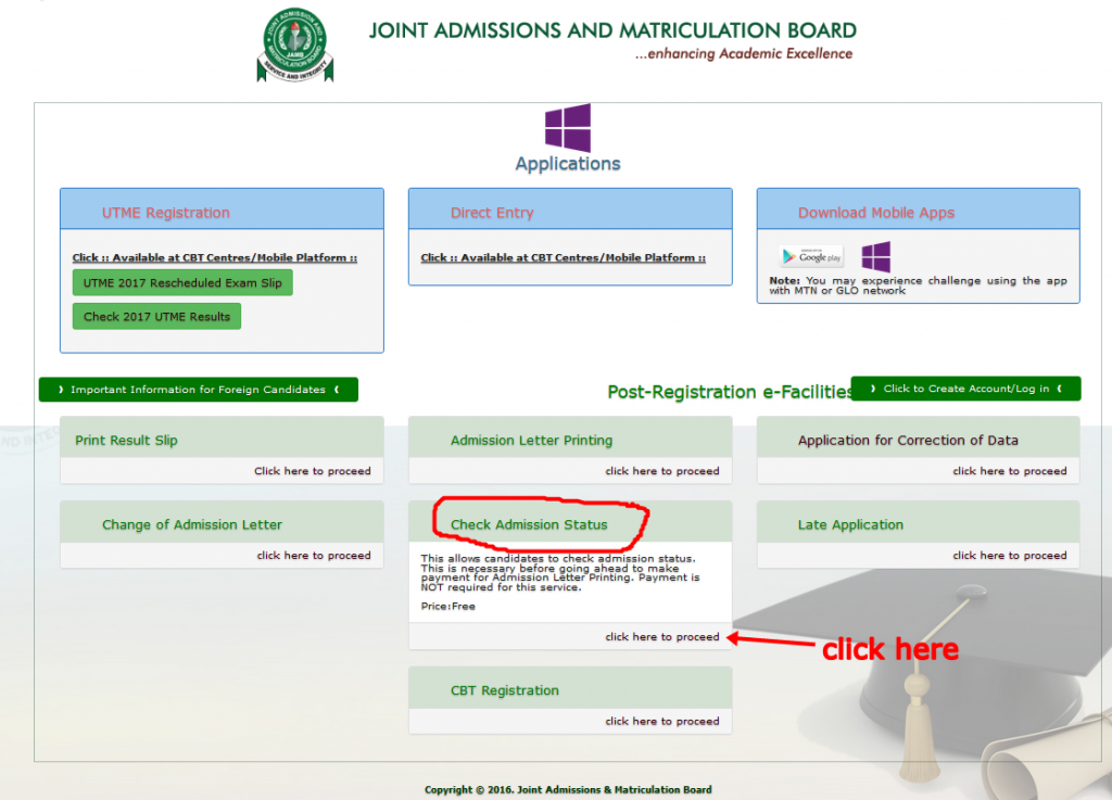 www.jamb.org.ng Admission Status
