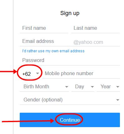 Indonesia Yahoo Registration