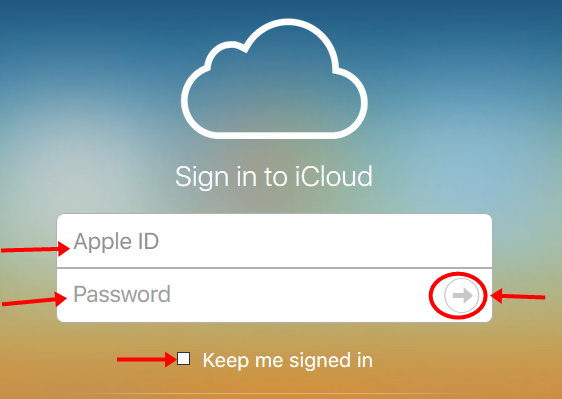 iCloud Account login for pc
