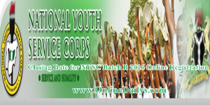 Closing Date for NYSC Batch B 2016 Online Registration