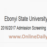 EBSU Post UTME Result – How to Check EBSU 2016/2017 Result