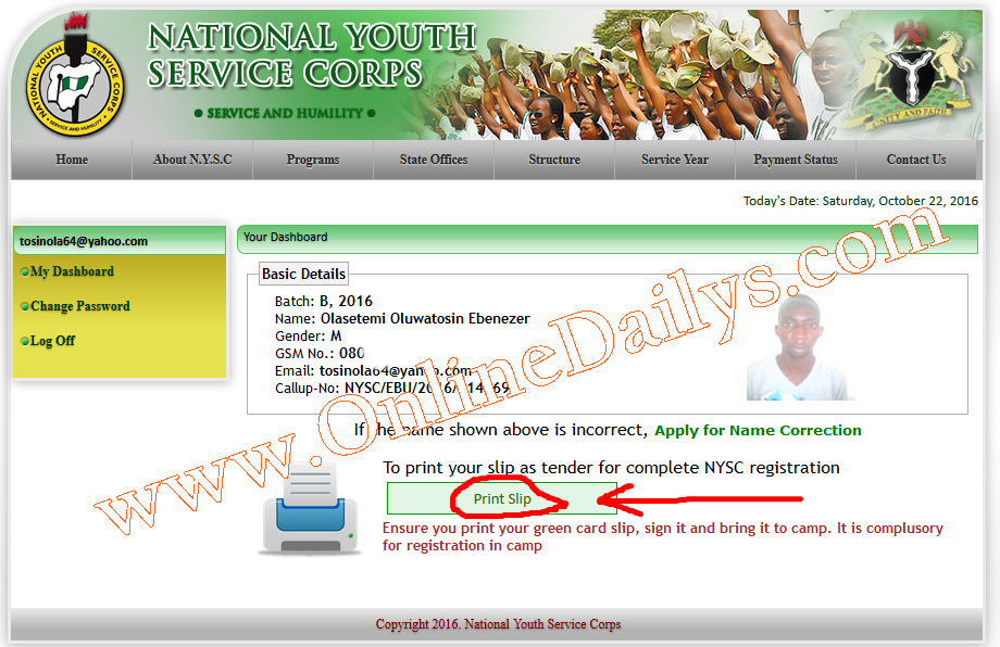 Login to your nysc dashboard