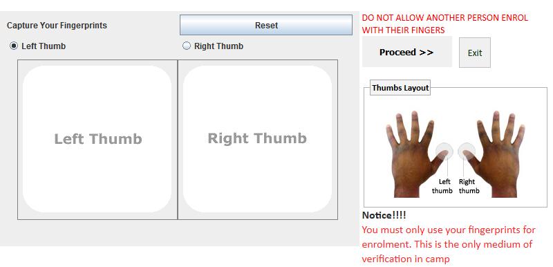 NYSC Thumb printing page