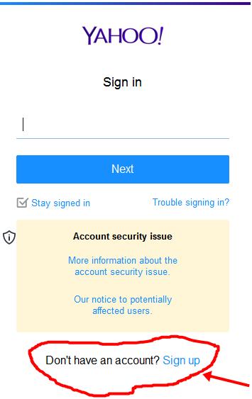 Yahoo Registration form for Pakistan