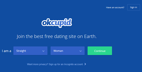 home page: Okcupid Date site