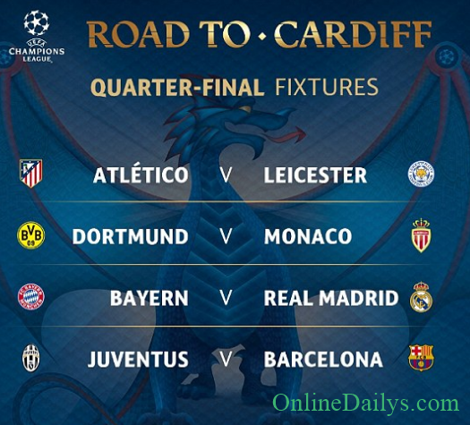 UEFA Champions League Quarter Final Draw Table For ONLINE DAILYS - Uefa champions league fixtures table