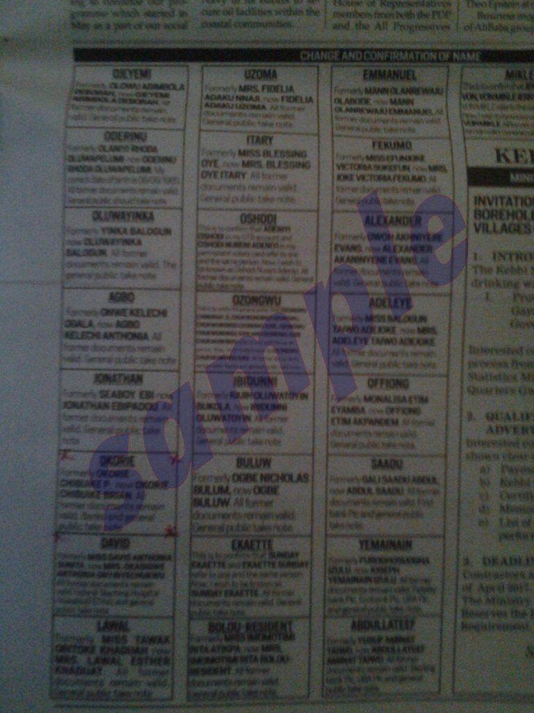 Sample of National Newspaper Change of Name Publication