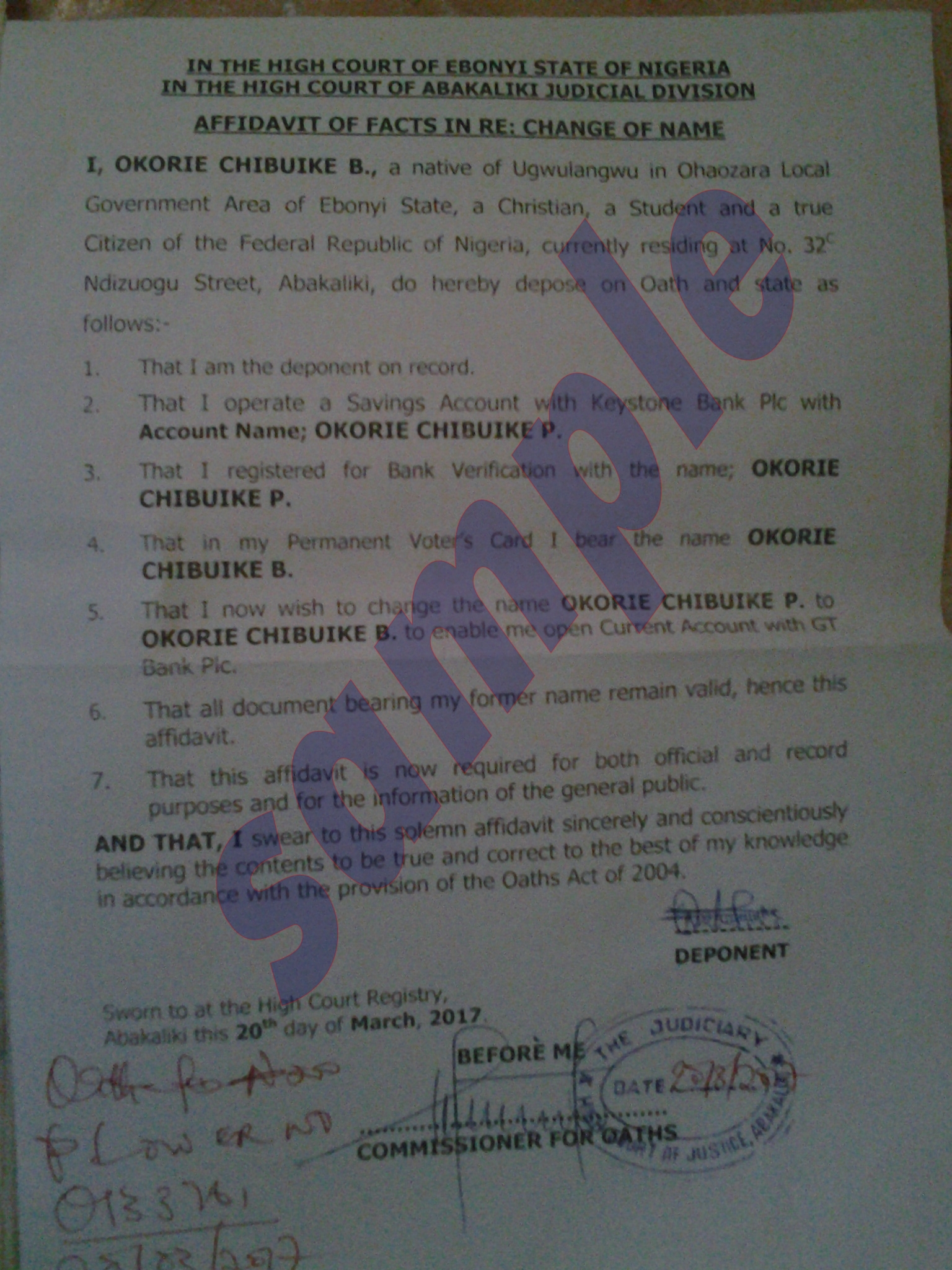 how to apply for change of name  age and signature in nigeria