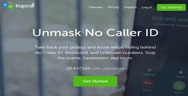 TrapCall App homepage