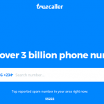 Homepage of TrueCaller App