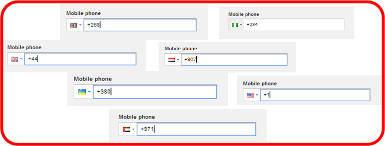 Gmail country code