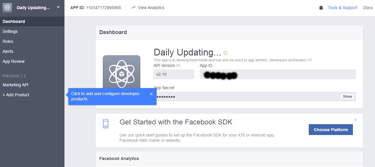 Facebook App Secret Page