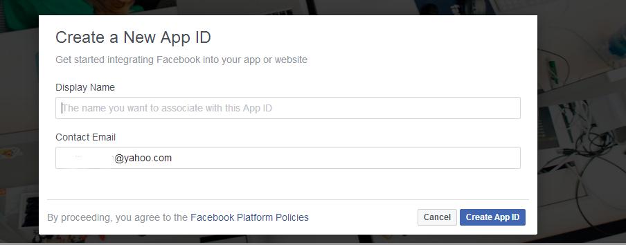 Image: Facebook Developers Account Registration