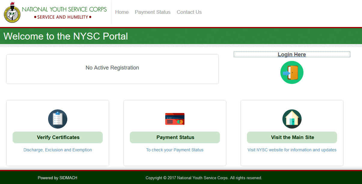 NYSC Dashboard page