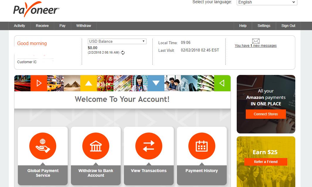 Payoneer homepage