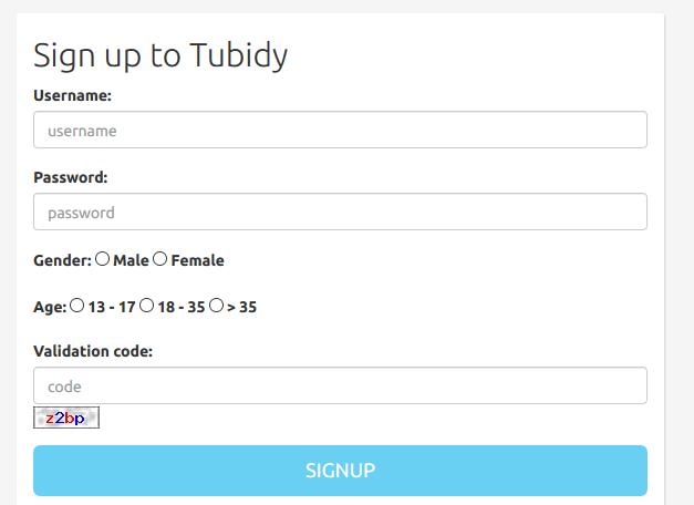 Tubidy Registration Form