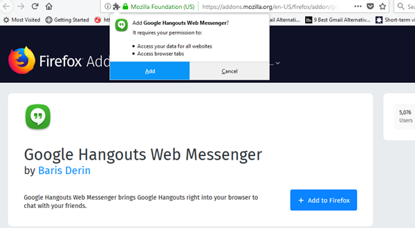 Hangouts Messenger for firefox