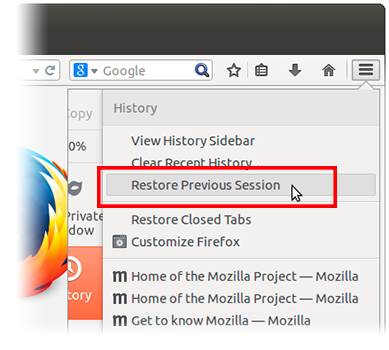 Restore Previous Session On Mozilla Firefox