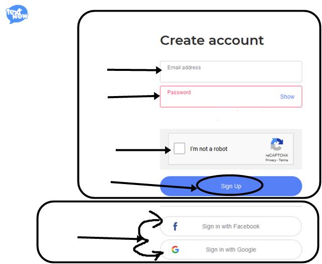 textnow registration form