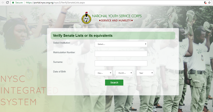 Checking NYSC Verify Senate List 2