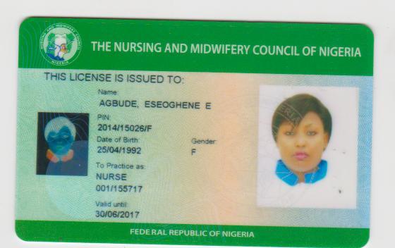 Sample Of A Nursing License in Nigeria